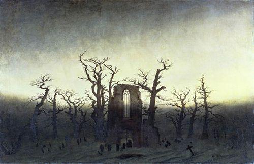 Caspar david friedrich cementerio de un monasterio bajo la nieve 1817-19