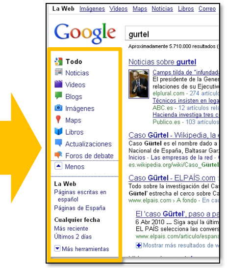 Menu de google search