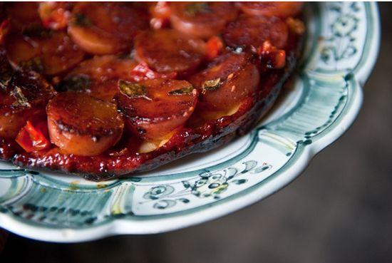 Tatin patatas tomatitos queso