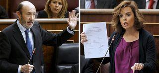 Los portavoces de PSOE y PP, Rubalcaba y Sáez de Santamaría