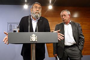 Los secretarios generales de UGT y CCOO, Cándido Méndez e Ignacio F. Toxo