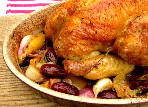 Pollo asado datiles almendras limon