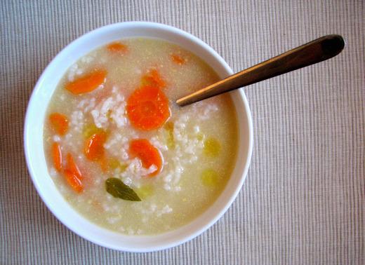 Sopa arroz enfermos