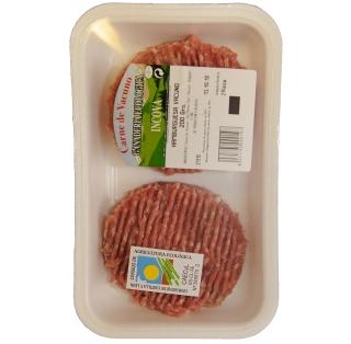 Bandeja de poliestireno extruido con hamburguesas con certificado ecológico
