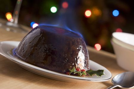 Christmas pudding flambe horizontal