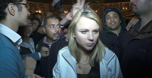 Lara Logan la noche del ataque. Foto: CBS