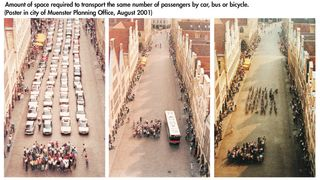 Comparativa de espacio ocupado por coches, bus o bicis para llevar al mismo número de personas