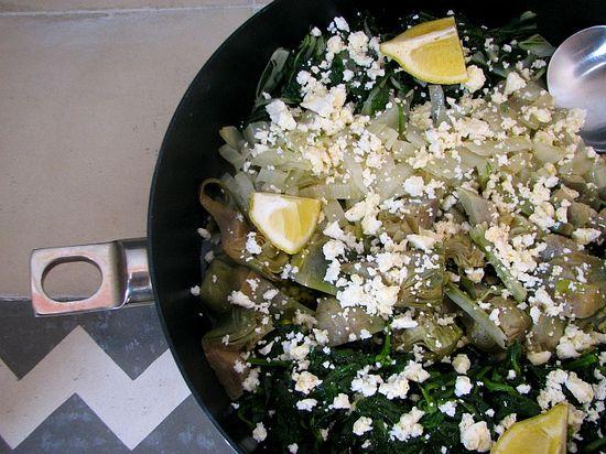 Verduras limón feta