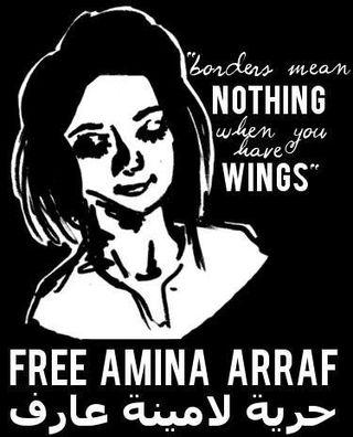 Cartel que pide la libertad de la bloguera.