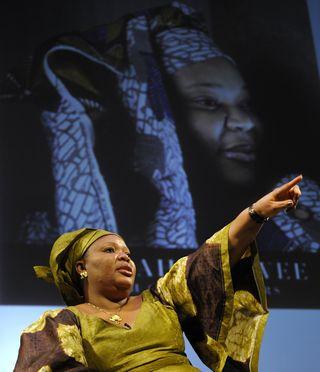 Leymah Gbowee, premio Nobel de la Paz, en la Universidad de Columbia (Nueva York). TIMOTHY A.CLARY / AFP