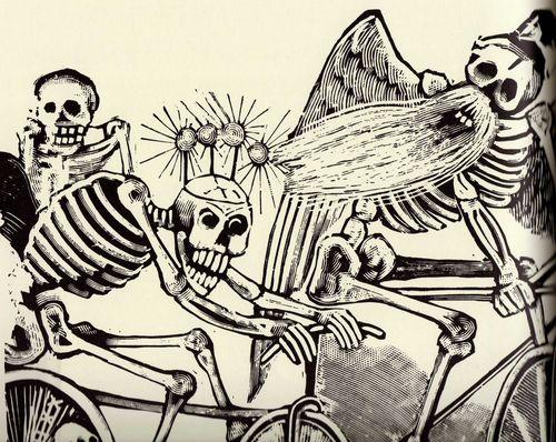 Calaveras en bici. José Guadalupe Posadas