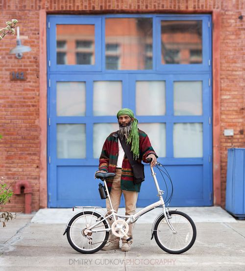Bike-portrait. Ras I and his folding bike in fort greene by Dmitry Gudkov
