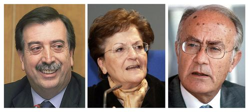 Eugeni Gay, Elisa Pérez y Javier Delgado, que han presentado su renuncia del Constitucional