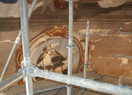 Frescos destrozados en Santo Domingo.
