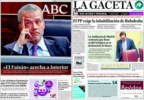 Portadas de este jueves de ABC y La Gaceta