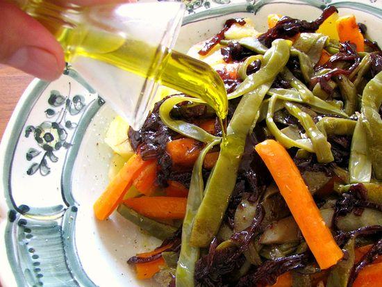 Judias verdes zanahoria patata cebolla vino