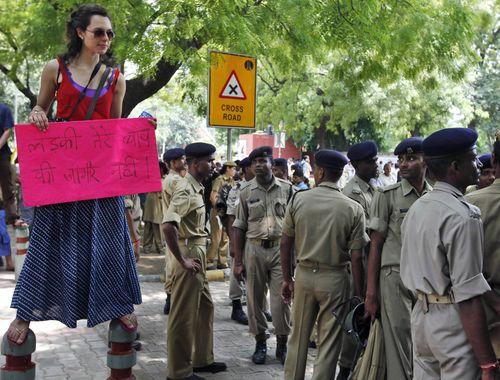 Un momento de la manifestación de Nueva Delhi. MUSTAFA QURAISHI / AP