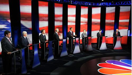 Un debate electoral entre los candidatos demócratas en 2008 en la cadena NBC