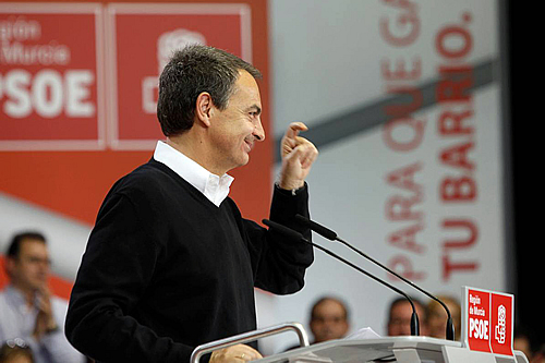 Zapatero, en un mitin en Murcia (Foto: Carles Francesc)