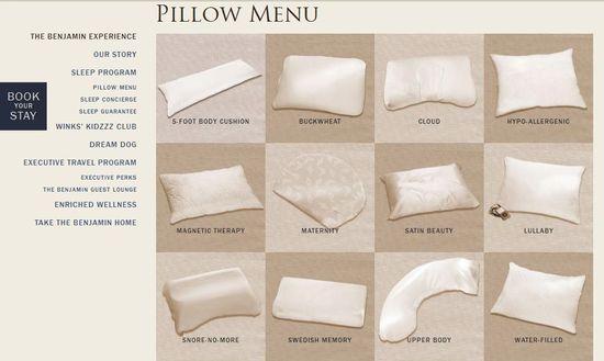 Menú de almohadas
