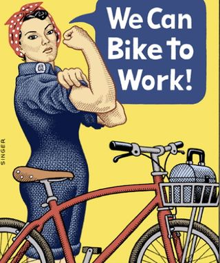 Woman-worker-bike-to-work