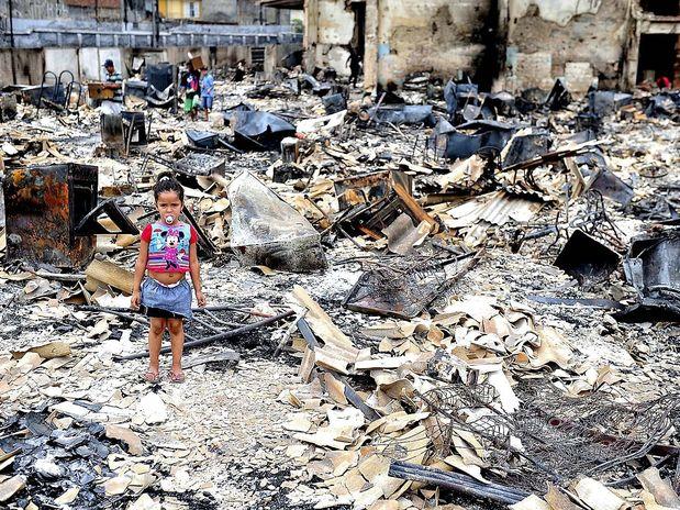 Favela quemada en Sao Paulo