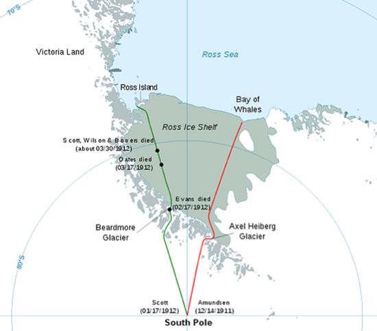 Las rutas de la Carrera del centenario entre Amundsen y Scott.