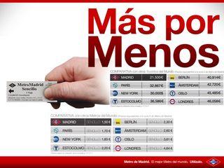 Campaña del Metro de Madrid con precios de los billetes y salarios medios