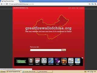 Captura de la pantalla en el ordenador de la página www.greatfirewallofchina.org