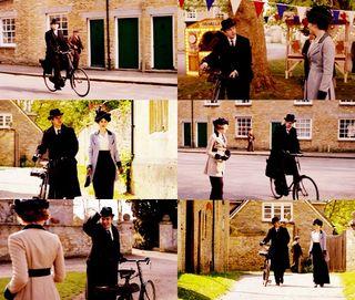 Imagen de la serie Downton Abbey, que se desarrolla en 1912 y en la que un personaje se mueve en bicicleta