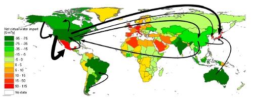 Balance de agua virtual por países y principales flujos de agua virtual entre 1996-2005
