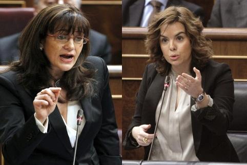 Soraya Rodríguez y Soraya Sáenz de Santamaría, durante primer su duelo en el Congreso. / EFE