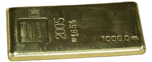 Un lingote de oro de un kilo recuperado por Umicore