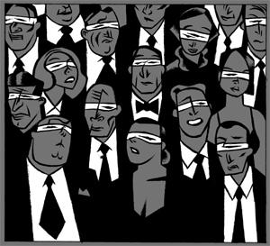 Personas con los ojos vendados Ilustración de Santiago Sequeiros