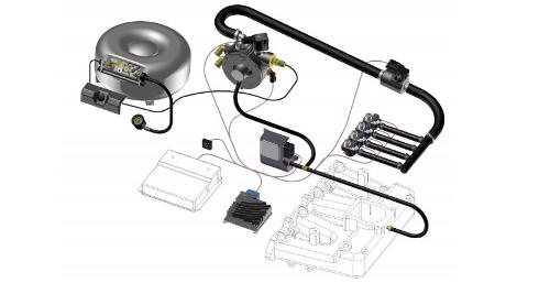 Kit con los componentes para el cambio al autogás