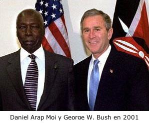 Daniel Arap Moi y George W. Bush