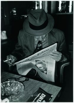 """""""William S. Burroughs at Hôtel Montalembert, Paris, waiting to drive out to Orly"""", May 1989 - photo © Udo Breger"""