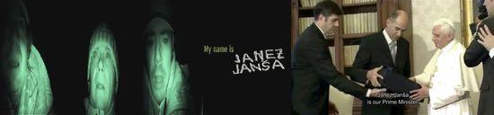 Janez Janša los artistas y el Primer Ministro de Eslovenia