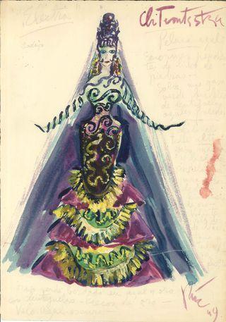 Figurín de Clitemnestra en ELECTRA (1949)