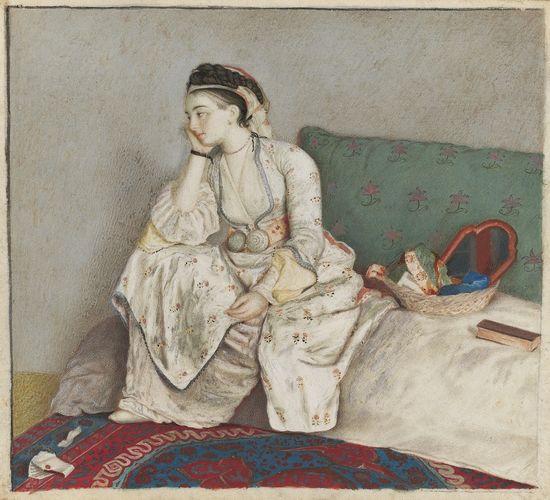 Jean-Etienne Liotard. Mujer pensativa en un sofá. 8,8 x 9,7 cm. Se subastará el 3 de julio en la sala londinense de Christie's. Estimado: 400.000- 600.000 libras. Foto: cortesía de Christie's.