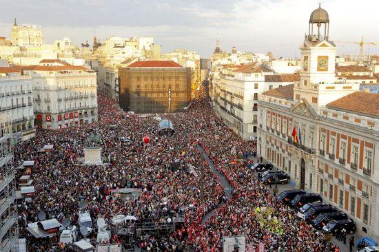 Foto de Bernardo Pérez de la manifestación en la Puerta del Sol de Madrid en la huelga general de marzo de 2012