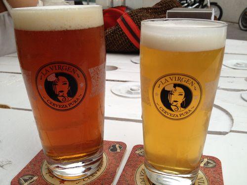 Las dos cervezas de la casa, lager rubia y la jamonera de alta fermentación
