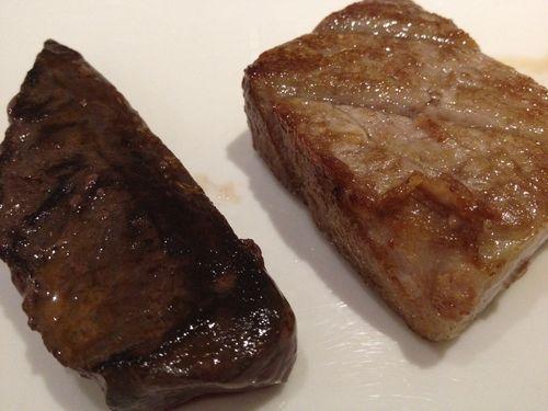 Ventresca y corazón de atún a la plancha, dos texturas y dos sabores bien diferentes