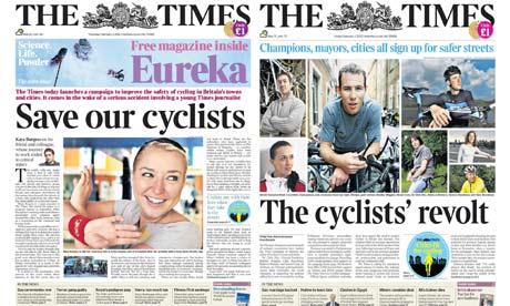 Páginas del periódico británico apoyando la bicicleta