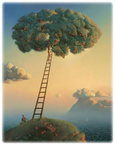 Profesores3 Pinturas-surrealistas-de-Vladimir-Kush-escalera