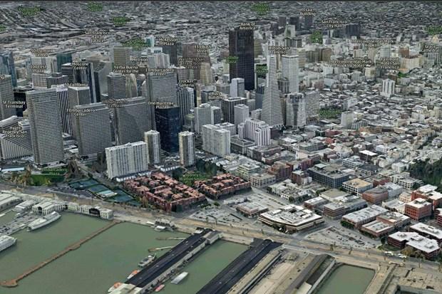 Imagen de San Francisco de la firma C3 Technologies, comprada por Apple