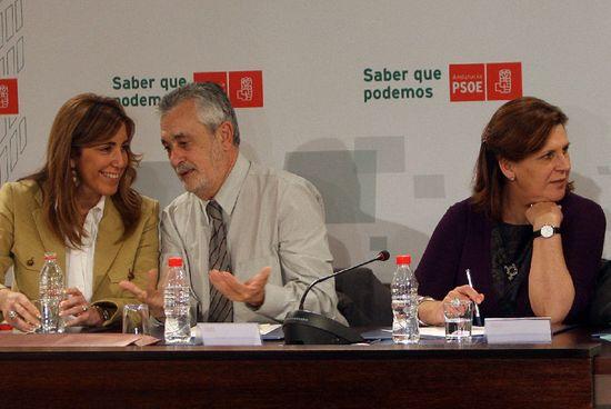 Diaz_Grinan(PérezCabo)el pasadomarzo en la reunión de la ejecutiva regional del PSOE andaluz