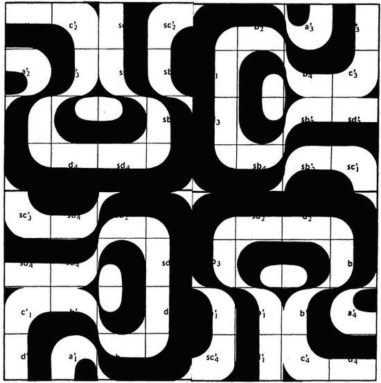 Serigrafía de Manuel Barbadillo - Composición en módulos en blanco y negro