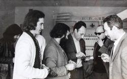 Los artistas pioneros del Centro de Cálculo de la UCM iz-dr Enrique Salamanca, José Luis Alexanco, Lugán, Eusebio Sempere y Abel Martín