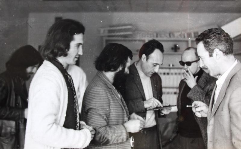 Artistas del Centro de Cálculo de la UCM: Iz-dr Enrique Salamanca, José Luis Alexanco, Lugán, Eusebio Sempere y Abel Martín